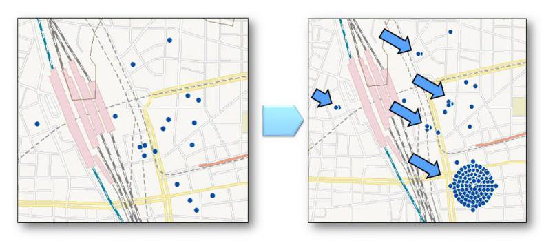 屋外広告の位置と方向を分析