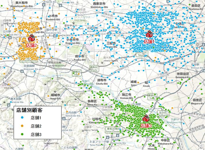 顧客データを地図上に展開