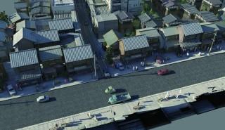 Esri CityEngine で作成された昭和 30 年代の街並み