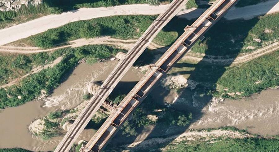 ベリコチルノボ市の鉄道インフラの10cm解像度のオルソ画像マップ(NRIC提供)