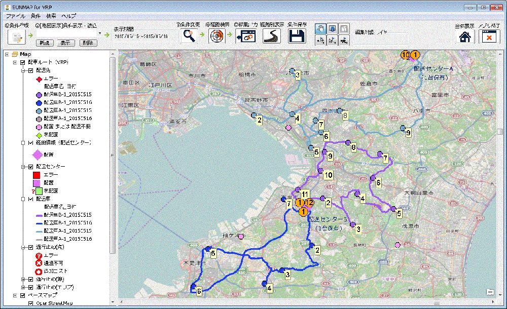 SUNMAP for VRP(アプリケーション)の画面