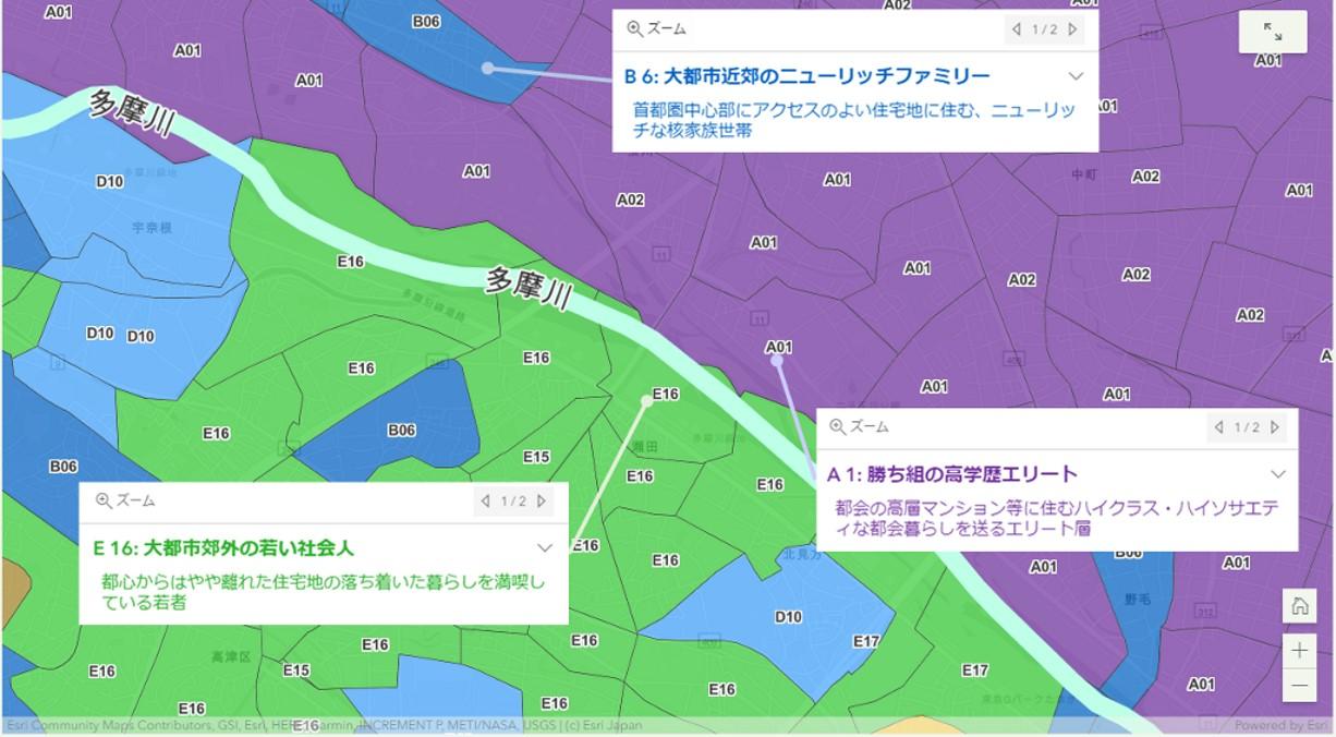 GIS で見るジオデモグラフィック データの分布