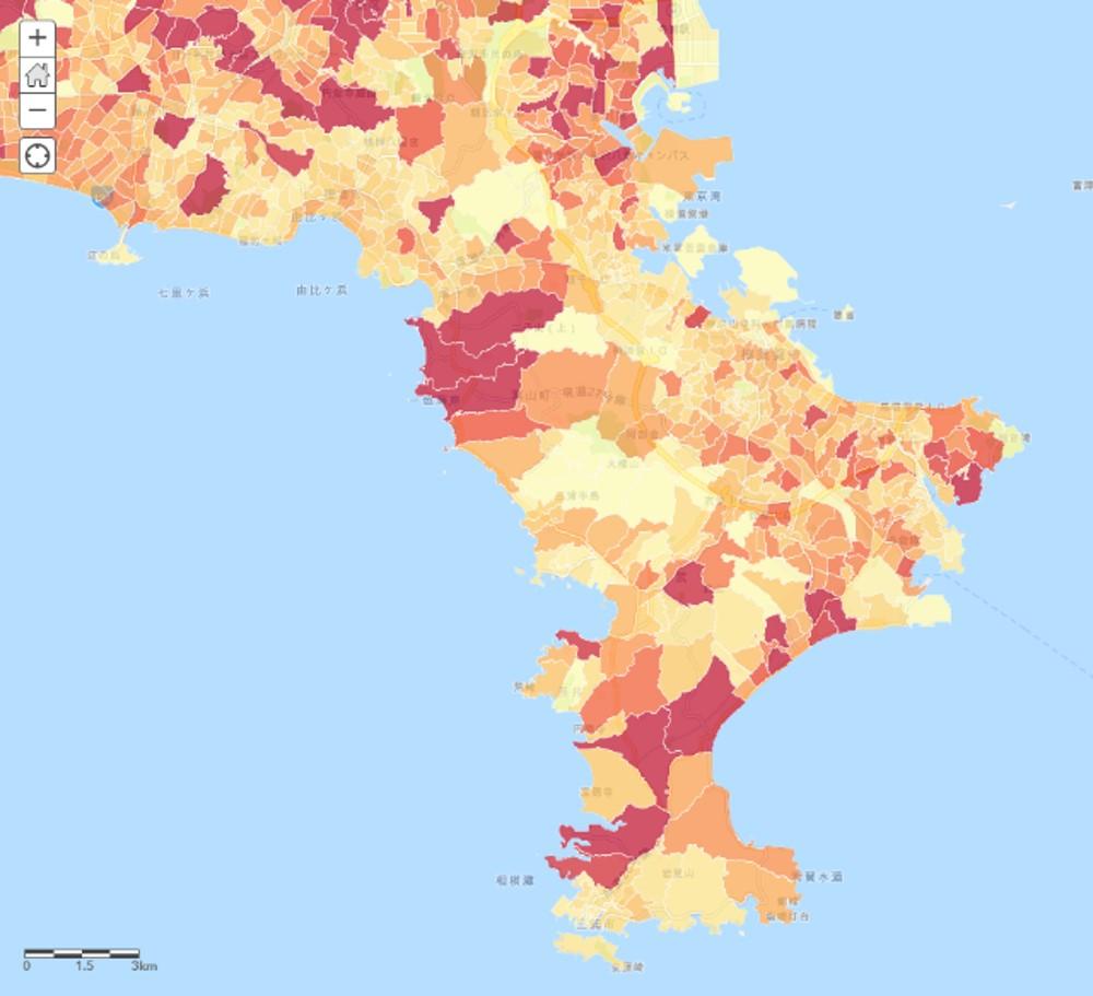 2015年国勢調査人口総数(町丁・字等)