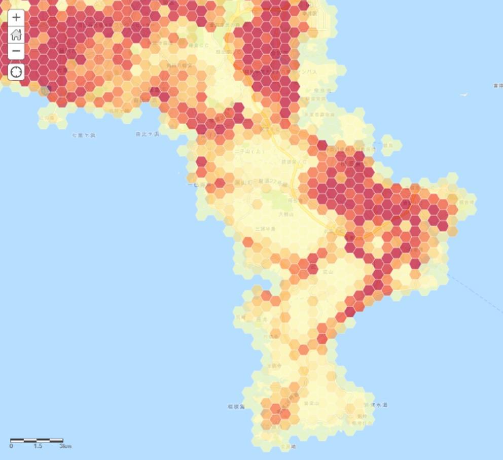 2015年国勢調査人口総数(六角形グリッド)