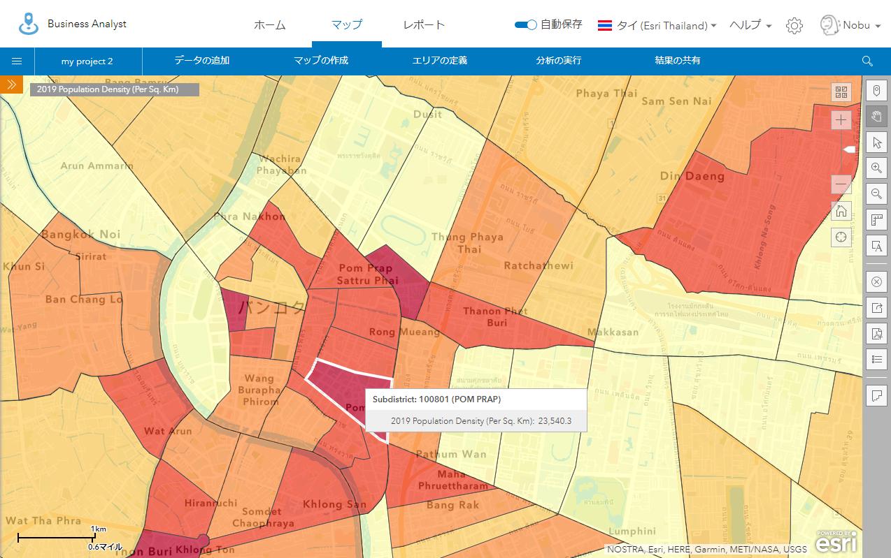 バンコク中心部の人口密度